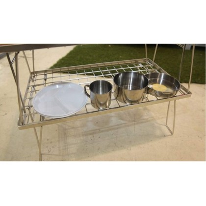 Campingmoon T230A-TP Stainless Steel Field Rack with Bamboo Plate Foldable Camping Grill Stacking Storage Rack